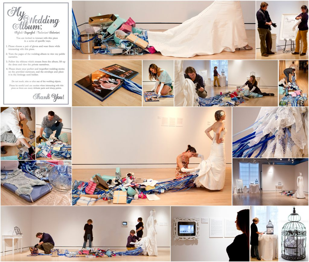 Amy Pierce, My Wedding Album: Perfect/Imperfect (Exterior/Interior), Performance Installation, 2013. Performed by Amy Pierce with Jess LeClair. From left: Invitation for audience participation and documentation by Matt Leavitt (top center, second row far right, third row far left, left and center) and Amy Pierce (all others).