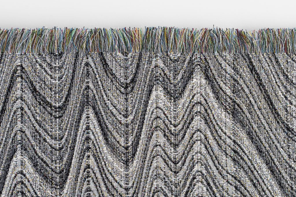 """Undo"" (detail), 2016, computerized jacquard weaving"