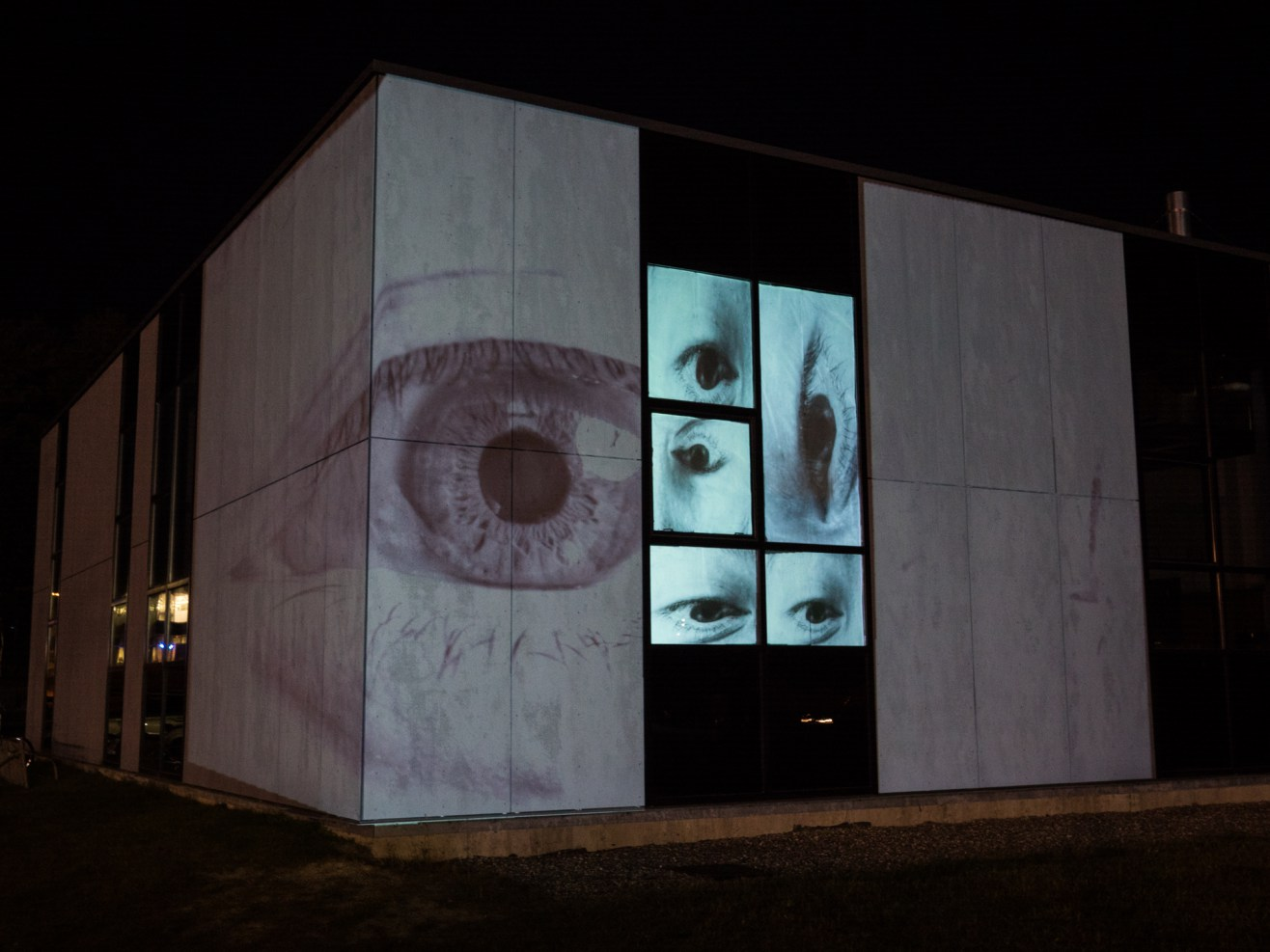 Photo of projection mapping on the IMRC building
